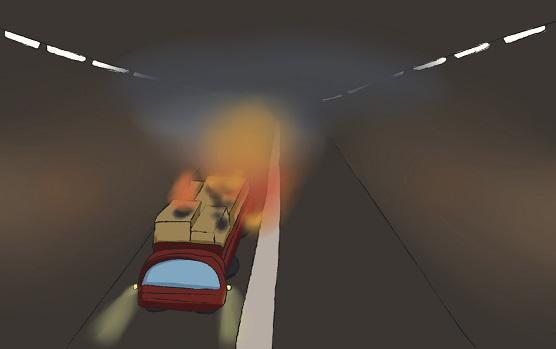 货车隧道内起火之后